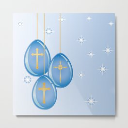 Shiny blue hanging eggs decorated with gold crosses Metal Print