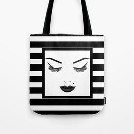 Black Lips Beauty Face Stripes Tote Bag