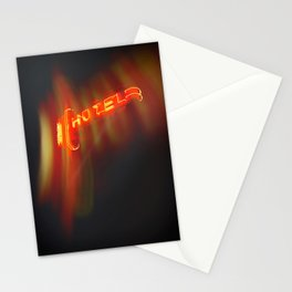 Hotel Red Neon Sign Stationery Cards