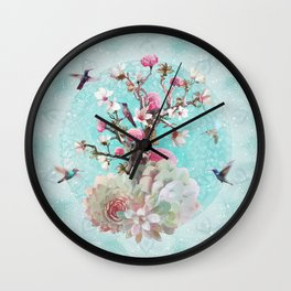 FLORAL HUMMINGBIRD Wall Clock