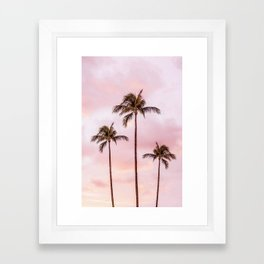 Palm Tree Photography | Landscape | Sunset Unicorn Clouds | Blush Millennial Pink Framed Art Print