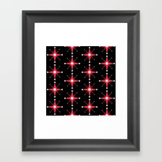 Retro Red Stars on Black Framed Art Print