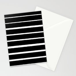 Rough White Thin Stripes on Black Stationery Cards