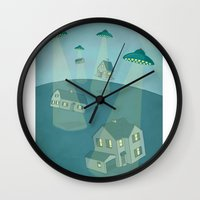 ufo Wall Clocks featuring UFO by Banessa Millet