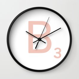 Pink Scrabble Letter B - Scrabble Tile Art Wall Clock