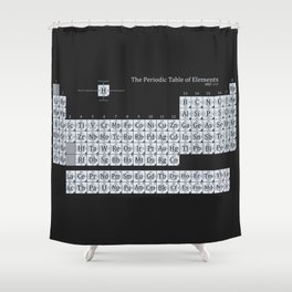 Grayscale Periodic Table of Elements Shower Curtain