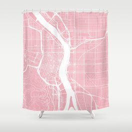 Pink City Map of Portland, Oregon Shower Curtain