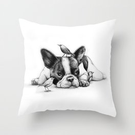 Frenchie and the Birds Throw Pillow
