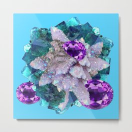 PURPLE AMETHYST  AQUAMARINE QUARTZ CRYSTAL ART Metal Print