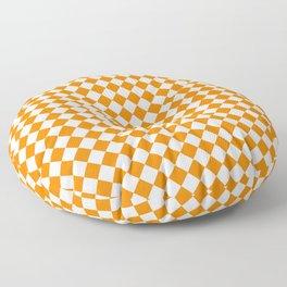 Small Diamonds - White and Orange Floor Pillow
