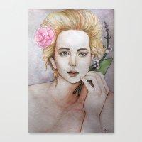 jennifer lawrence Canvas Prints featuring Jennifer Lawrence  by Giulia Colombo
