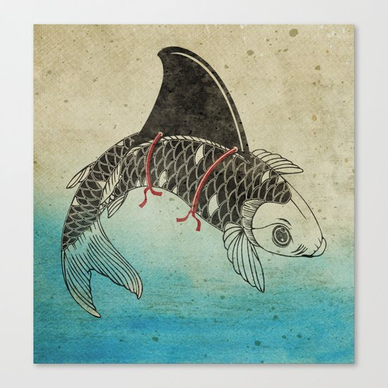 Koi shark fin canvas print by vin zzep society6 for Koi prints canvas