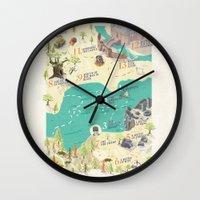 princess bride Wall Clocks featuring Princess Bride Discovery Map by Wattle&Daub