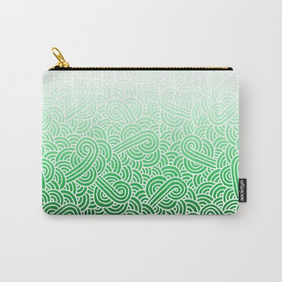 Ombre green and white swirls doodles Carry-All Pouch