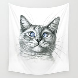 Cross Eyed cat G122 Wall Tapestry