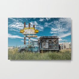 Ranch House Cafe sign and Apache Camper Truck Route 66 Tucumcari New Mexico Metal Print