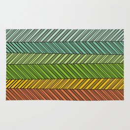 Color slices with lines Rug