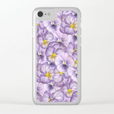 Watercolor floral pattern with violet pansies Clear iPhone Case