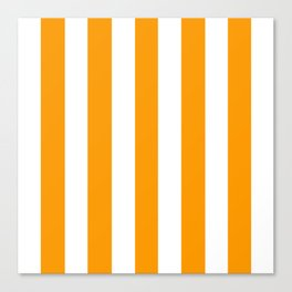 Orange (RYB) - solid color - white vertical lines pattern Canvas Print