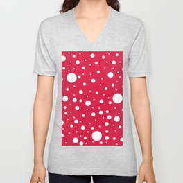 Mixed Polka Dots - White on Crimson Red Unisex V-Neck