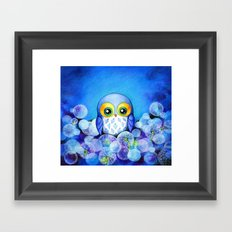 Lunar Owl in Dandelion Field Framed Art Print