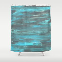 Brushed blue & grey Shower Curtain