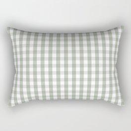 Desert Sage Grey Green and White Gingham Check Rectangular Pillow