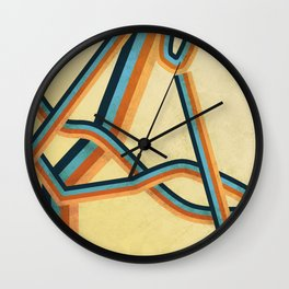 Grungy abstract geometric lines Wall Clock