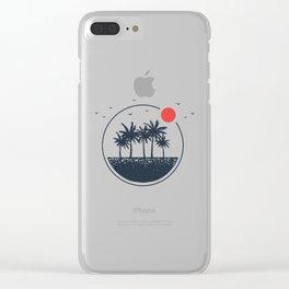 Beach. Palms. Geometric Style Clear iPhone Case
