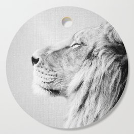 Lion Portrait - Black & White Cutting Board