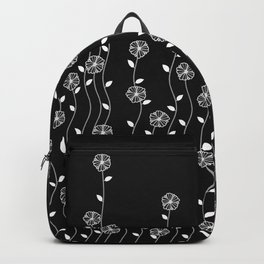 Hanging garden, floral design in black and white, nature print Backpack