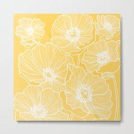 Sunshine Yellow Poppies Metal Print