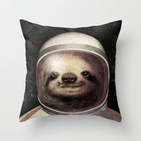 sloth Throw Pillows featuring Space Sloth  by Eric Fan