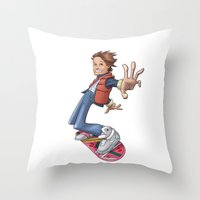 marty mcfly Throw Pillows featuring Marty by Havard Glenne