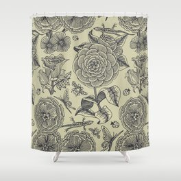 Garden Bliss - vintage floral illustrations  Shower Curtain