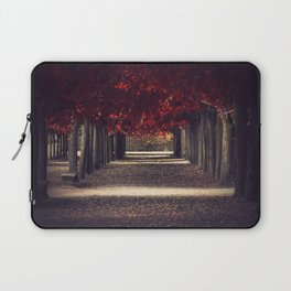Red colors of autumn, surreal photo, red trees, alley in a park Laptop Sleeve