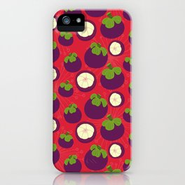 Tropical mangosteen fruit pattern on the coral background iPhone Case