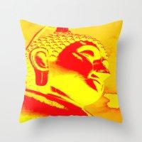 buddah Throw Pillows featuring Buddah Head 04; Orange Blush by Kether Carolus