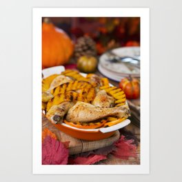 I - Oven roasted chicken with grilled pumpkin on a rustic table Art Print