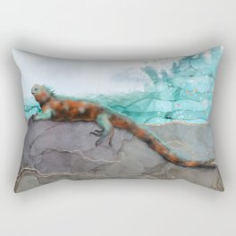 Marine Iguana on the Seashore - Galapagos Endangered Animal Rectangular Pillow