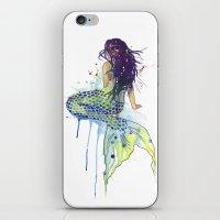 mermaid iPhone & iPod Skins featuring Mermaid by Sam Nagel