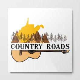 Country Roads West Virginia Music Guitar WV State Map Metal Print