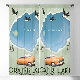 Crater Lake Oregon Travel Poster Blackout Curtain