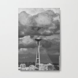 Seattle Skyline - B & W Metal Print