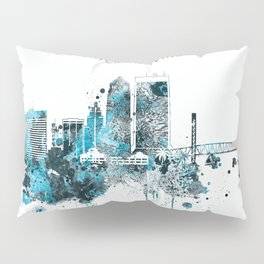 Jacksonville Monochrome Blue Skyline Pillow Sham