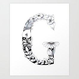 Floral Pen and Ink Letter G Art Print