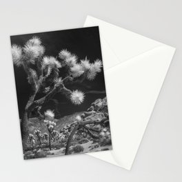 Joshua Trees and Boulders in Infrared Black and White at Joshua Tree National Park California Stationery Cards