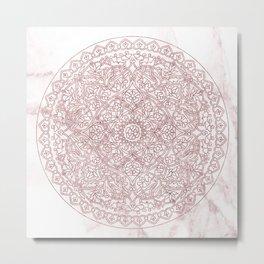 Rose Gold Marble Mandala Metal Print