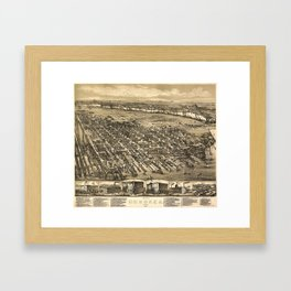 Vintage Pictorial Map of Hoboken NJ (1881) Framed Art Print