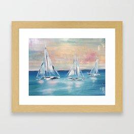 Sailboats at Sunset Framed Art Print